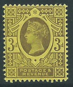 SG202 3d Purple on Yellow 1887 Jubilee Issue MOUNTED Mint (Queen Victoria Surface Printed Stamps)